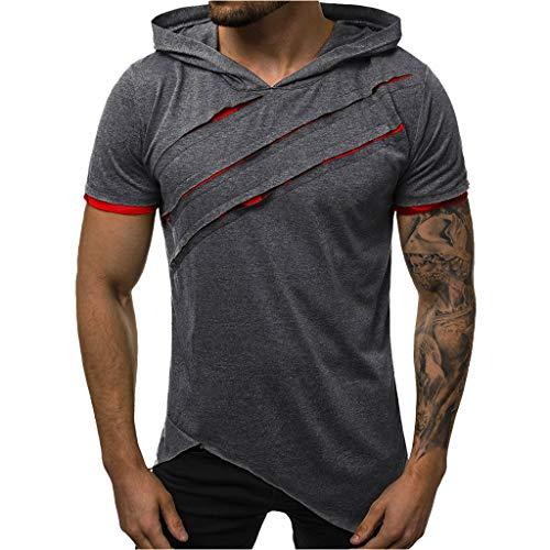 FEDULK Men's Sport Casual Hooded Pullover Slim Fit Short Sleeve Hoodies T Shirt Workout Top Tees(Dark Gray, Large)
