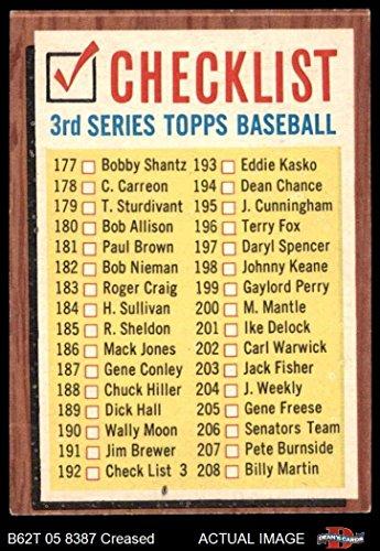 1962 Topps # 192 xCOM Checklist 3 (Baseball Card) (No Comma, says #192 Check List 3 ) Dean's Cards 3 - VG