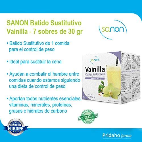 SANON - SANON Batido Sustitutivo Sabor Vainilla 7 sobres de 30 gr: Amazon.es: Salud y cuidado personal
