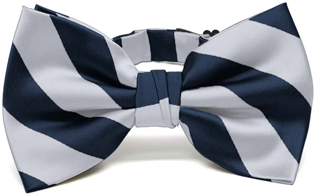 Mens Blue and Silver Formal Pre-Tied Bow Tie