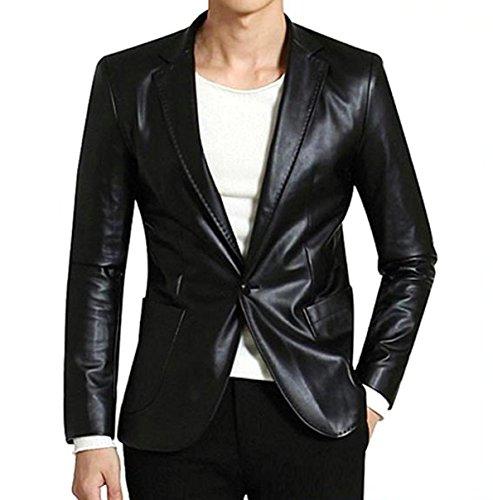 Leather N Leather Genuine Lambskin Leather Sport Blazer Jacket Slim Fit Coat (XXXL48) Nappa Leather Blazer