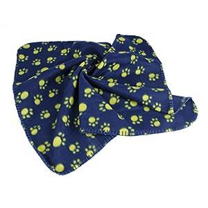 Generic Warm Blue Fleece Blanket Pet Dog Paw Print Pattern Soft Bed Mat–S