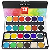 Arteza Premium Watercolor Paint Set, 25 Vibrant Color Cakes, Includes Paint Brush (Set of 25)