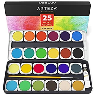 Arteza Watercolor Paint Set, Set of 25 Water Colors for Artists, Vibrant Pan Paints with Brush, Premium & Portable Kit for Adults and Kids, for Travel Painting, Sketching, and Illustrating