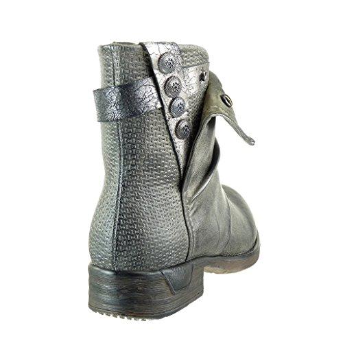 Angkorly - Zapatillas de Moda Botines biker - motociclistas cavalier stile vendimia mujer zapato acolchado trenzado Talón Tacón ancho 3 CM - Verde