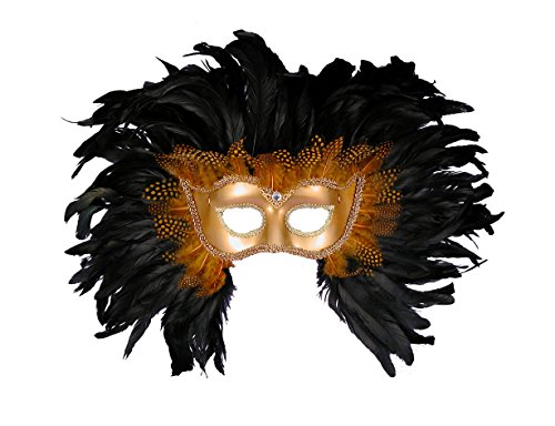 UHC Adult Half Style Lion Masquerade Mardi Gras Theme Party Halloween (Feathered Masquerade Mask)