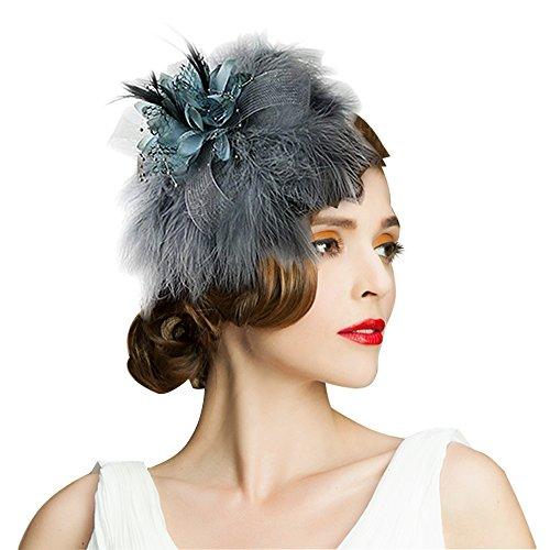 Edith qi Women s Hats Celebration Cocktail Party Wedding Feather Fascinators  Hair Clip f8d2ba0f47cb