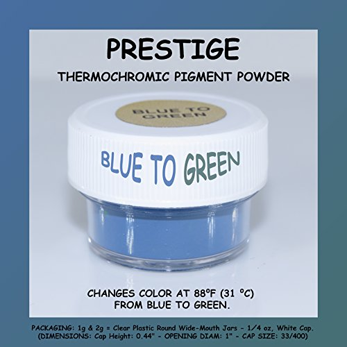 - PRESTIGE THERMOCHROMIC PIGMENT THAT CHANGES COLOR AT 88⁰F (31 ⁰C) FROM COLORED TO TRANSPARENT (Colored Below The Temperature, Transparent Above) Perfect For Color Changing Slime! (2g, BLUE TO GREEN)