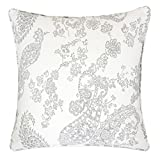 Homey Cozy Jacquard Cotton Throw Pillow Cover,Antique Cream Gray Paisley Lace Decorative Square Modern Couch Cushion Pillow Sham Case 20 x 20 Inch, Cover Only