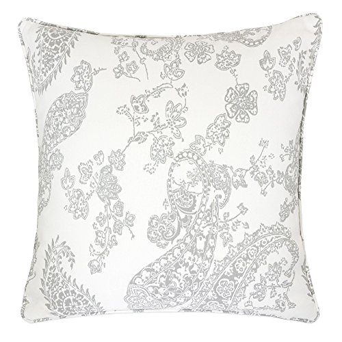 Homey Cozy Jacquard Cotton Throw Pillow Cover,Antique Cream Gray Paisley Lace Decorative Square Modern Couch Cushion Pillow Sham Case 20 x 20 Inch, Cover Only (Lace Pillow Toss)