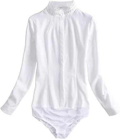 ZAMME Camisa de Manga Larga Casual para Mujer Body Chiffon Stand Camisa de Copa: Amazon.es: Ropa y accesorios