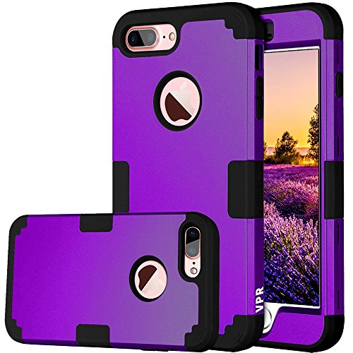 Flag Shield Protector Case - iPhone 8 Plus Case, 8 Plus Case, VPR 3 in 1 Hybrid Cover Hard PC Soft Silicone Rubber Heavy Duty Shock Absorbing Protective Defender Case for Apple iPhone 8 Plus 2017 Release (Purple+Black)
