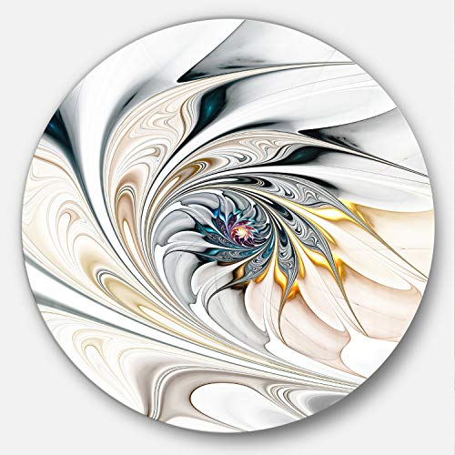 Designart MT10276 C38 White Stained Glass Floral Art Floral Disc, 38