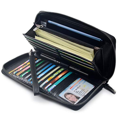 Women RFID Blocking Wallet Leather Zip Around Phone Clutch Large Travel Purse Wristlet (Black) ()