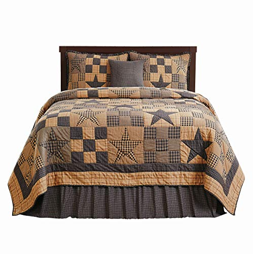 The BitLoom Co. Primitive Country, Star Patch Blue King 5 Piece Quilt Set from The BitLoom Co.