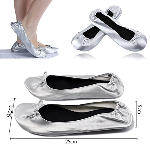 WSS - Black UK 5-6 / EU 39 Ladies Women Roll Up Foldable Flat Comfort Shoes Fold Up Pumps Foldable With Carry Bag Ballet After Party Silver wUPZlunib