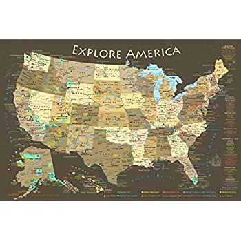 National Parks Map Of Usa.Amazon Com Geojango Maps National Parks Map Poster With Usa Travel