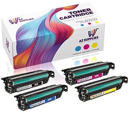 AZ Compatible Toner Cartridge Replacement for HP 647A-648A (CE260A, CE261A, CE262A, CE263A) 4 Pack Set - 1 Black / 1 Cyan / 1 Magenta / 1 - 648a Cartridge Yellow