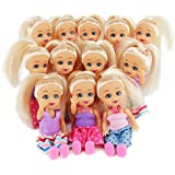 Boley Toys Doll/Figurine Set - 12 PC Girl Dolls Box w/ Unique Outfits Apparel, Additional Hair Accessories Included - Great Stocking Stuffers