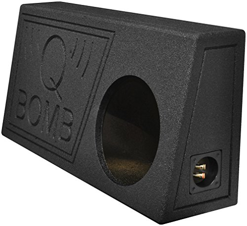 Q Power QBomb Single 10 Inch Vented Subwoofer Sub Box with Black Bedliner Spray (Single Vented Box)