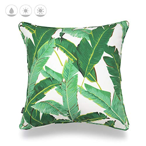 """Hofdeco Outdoor Patio Decorative Throw Pillow Cover ONLY Weather Water Resistant Canvas Jungle Greenery Tropical Banana Leaf 18""""x18"""""""