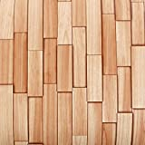 ROSEROSA Peel & Stick Backsplash Bamboo Cedar Wood Textured Vinyl Contact Paper Self-adhesive Wallpaper Shelf Liner Table and Door Reform (PG4373-4 : 2.00 Feet X 6.56 Feet)