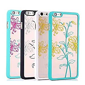 QYF Transparent Double Color Lily Reliefs Back Cover for iPhone 6 Case (Assorted Color) , Black