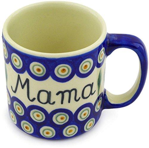 (Polish Pottery Mug 12 oz Mama Mom Traditional Peacock )