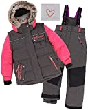 Deux par Deux Girls' 2-Piece Snowsuit Friendship Forever Charcoal, Sizes 4-14 - 14
