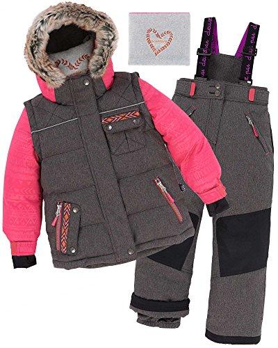 Deux par Deux Girls' 2-Piece Snowsuit Friendship Forever Charcoal, Sizes 4-14 - 8 by Deux par Deux