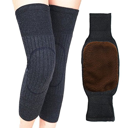 BESTCYC Unisex Women Men's Cashmere Wool Knee Brace Pads Winter Warm Thermal Knee Warmers Thicken Lengthen Breathable Elastic Knees Sleeves for Winter Cold Weather Knees Protection