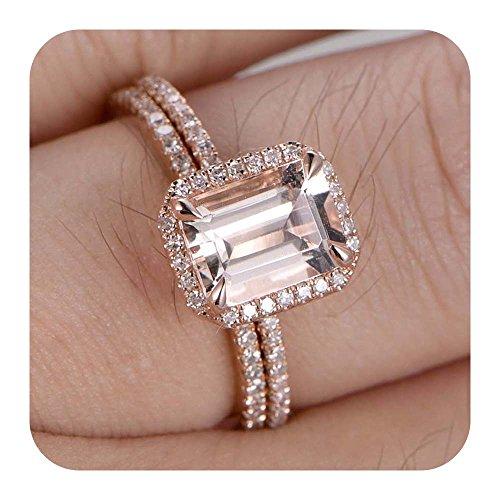 RUDRAFASHION 6x8mm Emerald Cut Morganite & Diamond 14k Rose Gold Over .925 Sterling Silver Wedding Band Full Eternity 2pcs Bridal Rings - Emerald Cut Diamond Ring Settings
