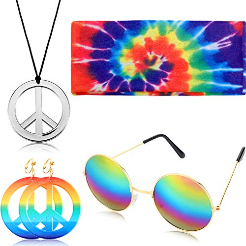4 Pieces Hippie Peace Costume Set, Include Peace Sign Necklace Earring Rainbow Headband Round Hippie Sunglasses (Silver Pendant) ()