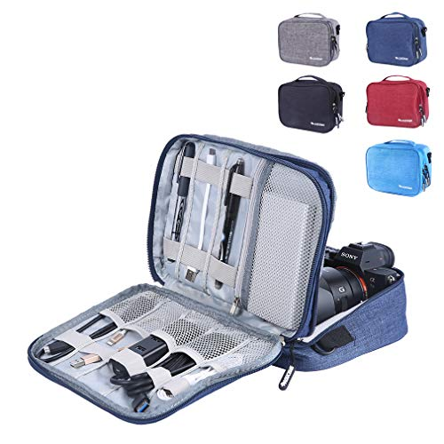 Travel Electronics Accessories Organizer Bag- Waterproof Cable Organizer Bag with 3 Removable Dividers, Padded Gadget Carrying Case for Cables, Portable Chargers, Electronics Adapters - Removable Divider