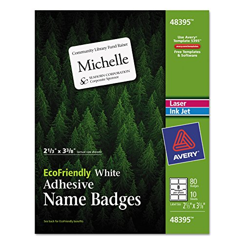 (Avery EcoFriendly Name Badge Labels for Laser and Ink Jet Printers, 2.333 x 3.375 Inches, White, Permanent, Pack of 80)
