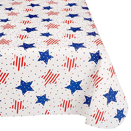 Amscan American Flannel-Backed Patriotic Vinyl Table Cover, 1 Piece, 52