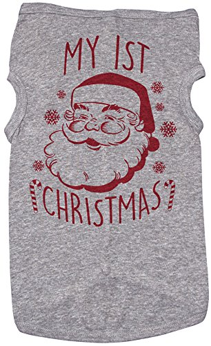 (Baffle Holiday Shirt for Dogs/My First Christmas/Grey Puppy Tee)