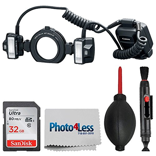 Canon Macro Twin Lite Mt-26Ex-Rt Camera Flash + 32GB Memory Card + Dust Blower + Lens Pen - Top Value Accessory Bundle!