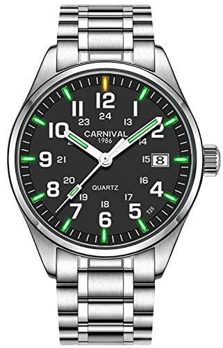 Men's Quartz Watch Steel Band Military Blue or Green Super Bright Night Luminous (Green Light Black)