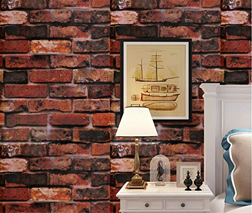 (Prabahdak Brick Wallpaper Retro Red Brick Wallpaper Vintage Red Brick Wallpaper Self Adhesive Wallpaper Vinyl Removable Wallpaper Modern Wall Decor Indoor Training Stadium Bar Home Dorm Renovation)