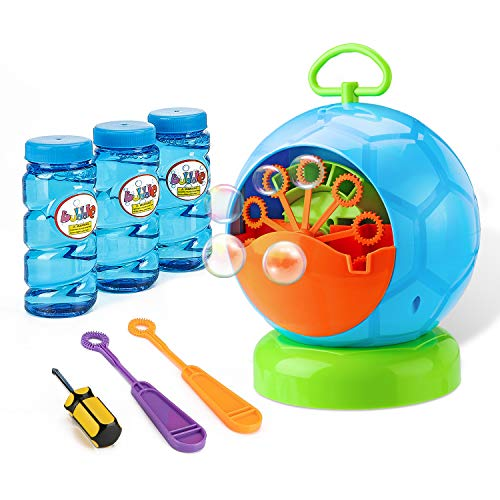 Fansteck Bubble Machine, Durable and Portable Automatic 800+ Bubble Machine for Kids, with 3 Bottles of Bubble Solution and 2 Extra Manual Bubble Wands, Easy to Use for Christmas, Parties, -