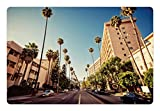 Ambesonne Urban Pet Mat for Food and Water, Street in Beverly Hills California Palm Trees Houses Famous City Photo, Rectangle Non-Slip Rubber Mat for Dogs and Cats, Light Blue Peach Green