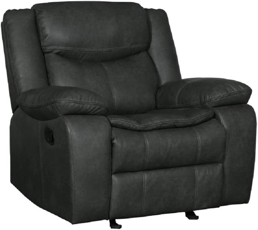 Blackjack Furniture Marsden Collection Modern Leather Air Living Room Reclining, Chair, Gray