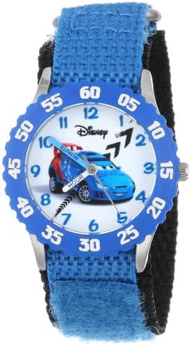Disney Kids' W001006 Cars Stainless Steel Time Teacher Blue Bezel Blue Nylon Strap Watch