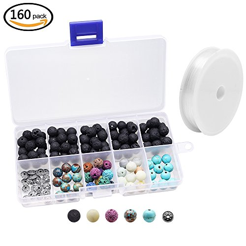 Assorted Volcanic Stones (Hysagtek 160 Pcs Lava Stone Rock Beads Energy Stone + Assorted Gemstones Round Loose Beads with Crystal Elastic Cord for Essential Oils Jewelry Making Accessories DIY Bracelet,8mm)