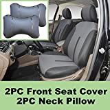 5N16102 Grey-Fabric 2 Front Car Seat Covers + 2 PU Leather Headrest Pillow Compatible To HYUNDAI ACCENT AZERA SONATA SONATA HYBRID SONATA PLUG-IN TUCSON TUCSON FUEL CELL 2018 2017 2016-2007