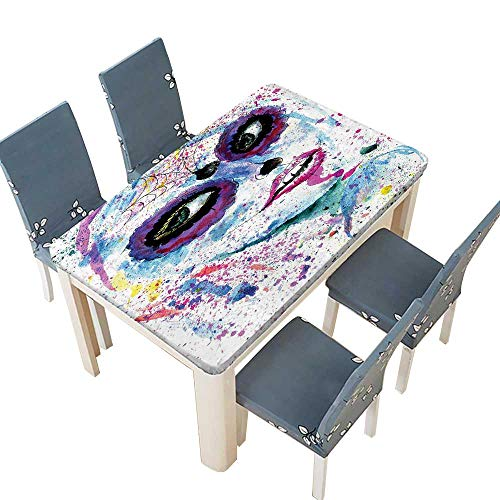 PINAFORE Table in Washable Polyeste Halloween Lady with Sugar Skull Make Up Creepy Dead Face Banquet Wedding Party Restaurant Tablecloth W69 x L108 INCH (Elastic Edge)