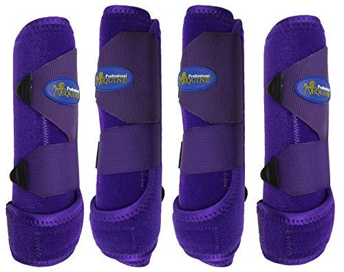 Professional Equine Medium 4-Pack Sports Medicine Splint Boots Purple 41PRC