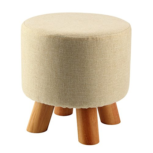 SODIAL(R) Upholstered Footstool Modern Luxury Upholstered Footstool Round Pouffe Stool + Wooden Leg Pattern:Round Fabric:Beige(4 Legs) by SODIAL(R)