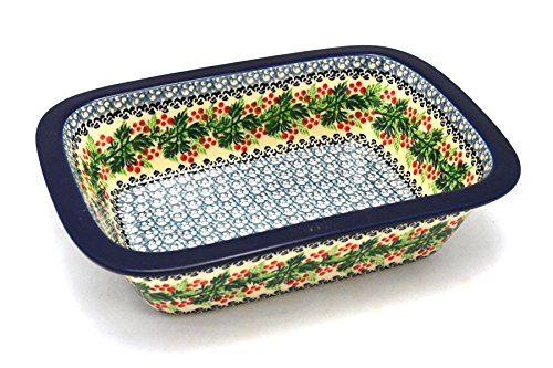 Holly Casserole (Polish Pottery Baker - Rectangular with Grip Lip - Holly Berry)
